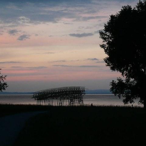 Abendstimmung beim Seeparksaal. Vergrösserte Ansicht