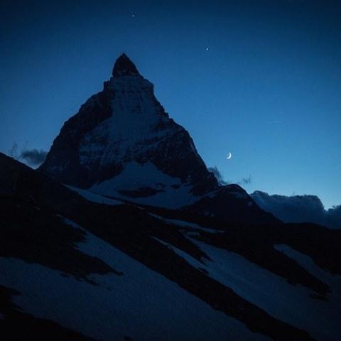 Matterhorn bei Nacht. Vergrösserte Ansicht
