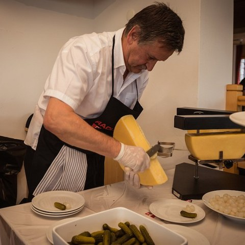 Raclette nach Walliser Art. Vergrösserte Ansicht
